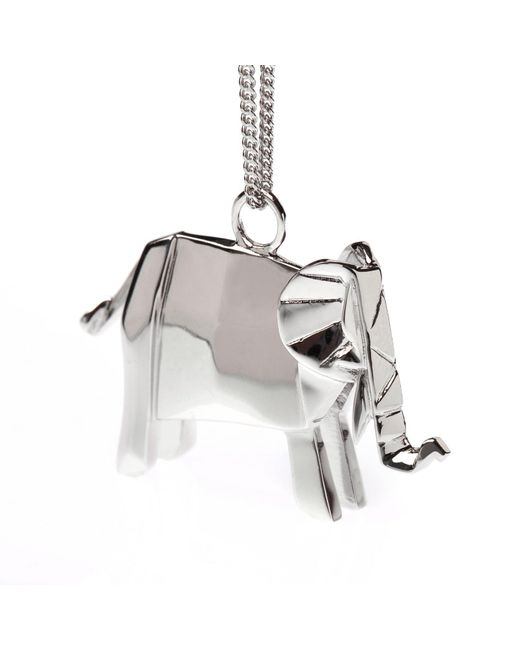 Origami Jewellery - Metallic Elephant Necklace Sterling Silver - Lyst
