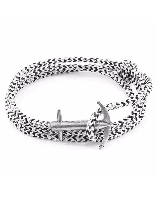 Anchor & Crew - Metallic White Noir Admiral Silver & Rope Bracelet for Men - Lyst