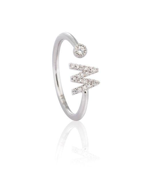 Astrid & Miyu - Metallic Silver Initial W Ring - Lyst