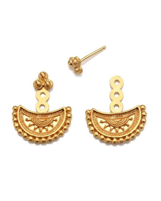 Satya Jewelry | Metallic Half Moon Gold Mandala Jacket Earrings | Lyst