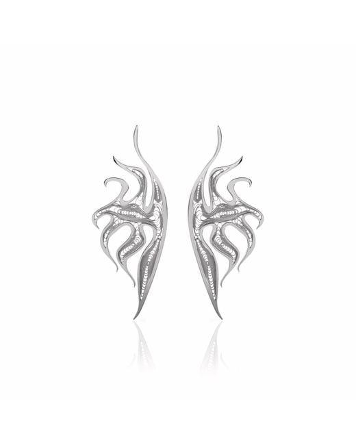 Nooneh London - Metallic Atlantis Statement Earrings Rhodium - Lyst