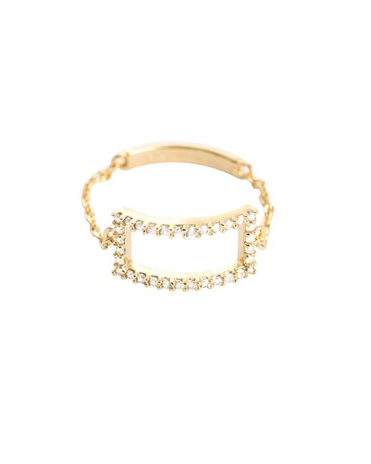 Astrid & Miyu - Metallic Tuxedo Rectangle Chain Ring Gold - Lyst