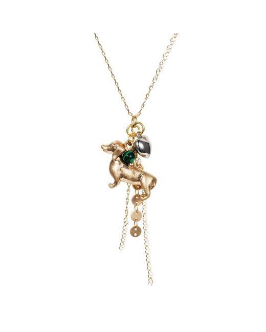 Nadia Minkoff - Metallic Dachshund Charm Necklace Gold With Malachite - Lyst