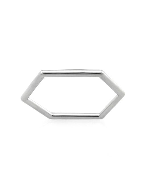 Monarc Jewellery | Metallic The Classic Hexi Stacker Ring Sterling Silver | Lyst