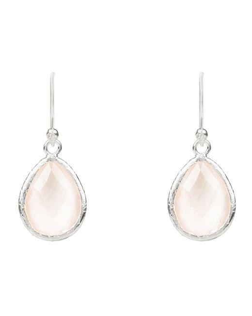 Latelita London - Metallic Petite Drop Earring Silver Rose Quartz Hydro - Lyst