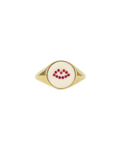 Lee Renee - Metallic Ruby Lip Signet Ring - Lyst