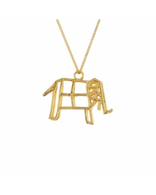 Origami Jewellery - Metallic Frame Elephant Necklace Gold - Lyst