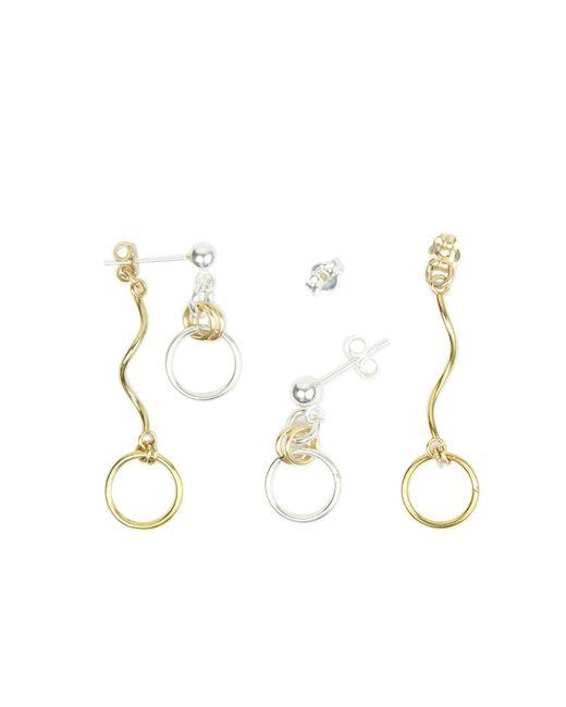 Alison Fern Jewellery | Metallic Dot Gold & Silver Earrings With Twirl Back | Lyst