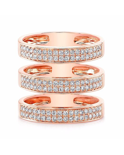 Anne Sisteron | Pink Rose Gold Diamond Large Triple Bar Ring | Lyst