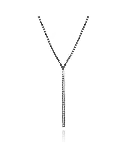 Astrid & Miyu   Black Hold On Big Bar Necklace In Gunmetal   Lyst