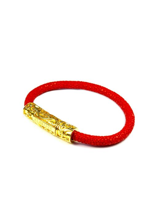 CLARISTE JEWELRY | Men's Red Stingray Bracelet With Gold Lock for Men | Lyst