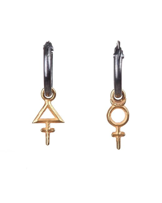 Rachel Entwistle | Metallic Primary Symbol Hoops Gold | Lyst