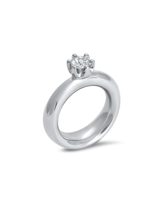 Hargreaves Stockholm - Metallic Commitment B White Gold And Diamond Claw Set Single Stone Ring - Lyst