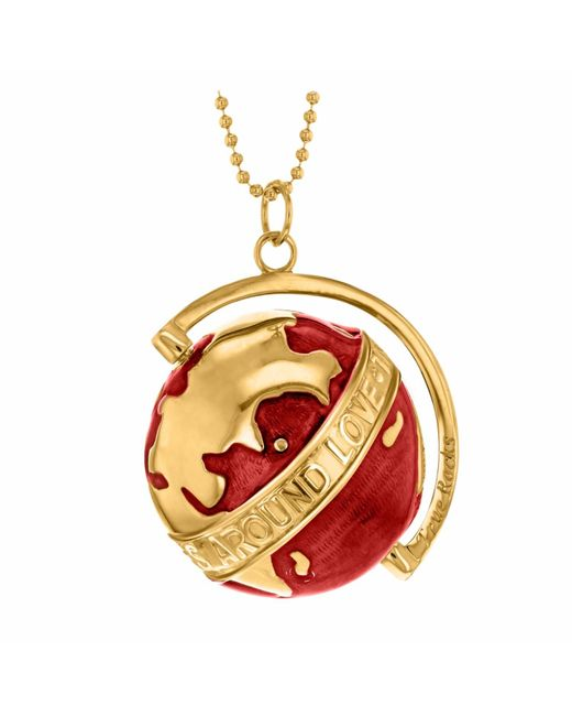True Rocks | Large Globe Necklace Yellow Gold & Red Enamel | Lyst
