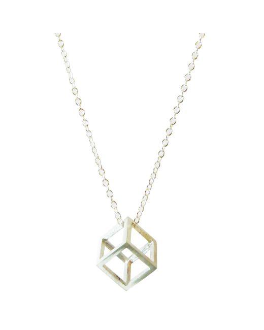 Stephanie Bates | Metallic Silver Cube Pendant | Lyst