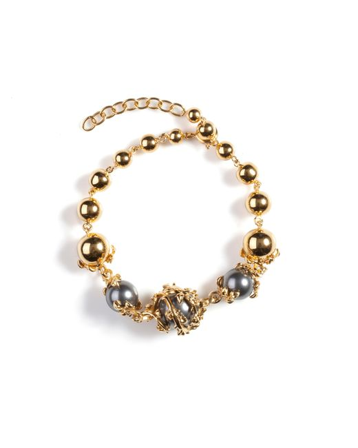 Kasun | Metallic Orb And Three Pearls Bracelet | Lyst