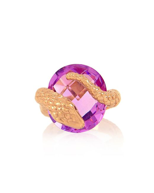 Alexandra Alberta - Pink Rose Gold Plated Gaia Ring With Amethyst - Lyst