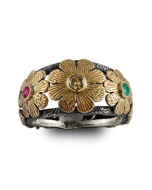 Emma Chapman Jewels - Metallic Diamond Ruby & Emerald Gold Flower Ring - Lyst