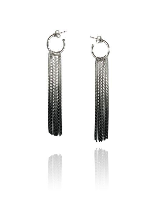 Cara Tonkin | Black Vesper Hoop Earring Oxidised Silver | Lyst
