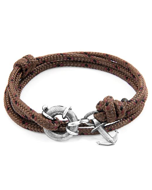 Anchor & Crew - Multicolor Brown Clyde Anchor Silver & Rope Bracelet for Men - Lyst