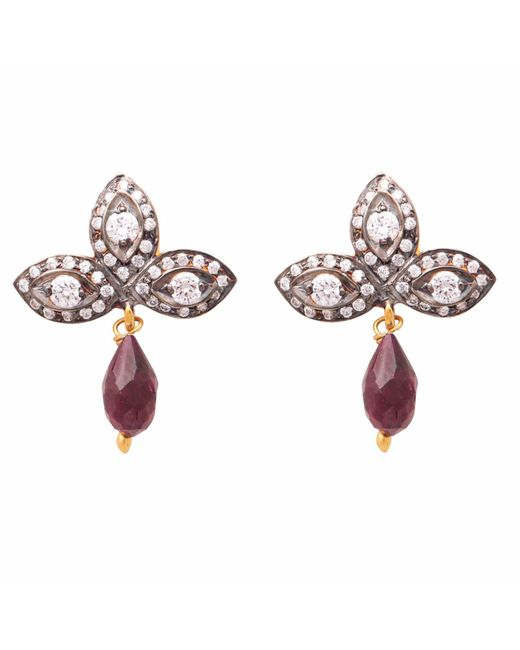 Carousel Jewels - Metallic Crystal Quartz & Garnet Drop Earrings - Lyst