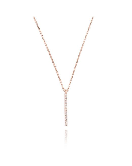 Astrid & Miyu - Metallic Hold On Small Bar Necklace In Rose Gold - Lyst
