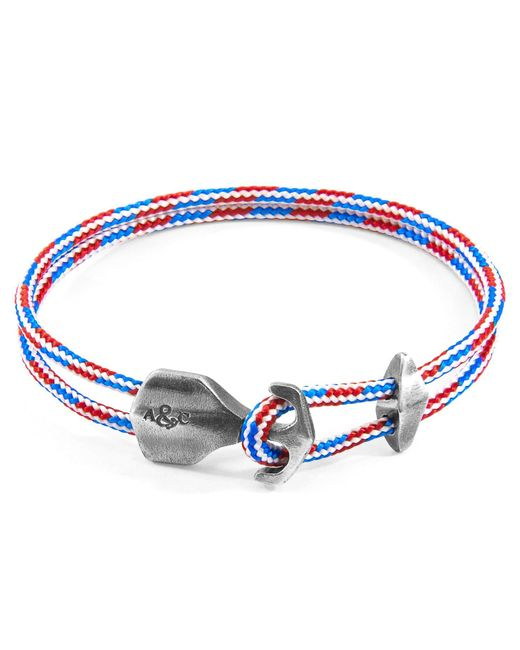 Anchor & Crew - Project-rwb Red White & Blue Delta Silver & Rope Bracelet for Men - Lyst