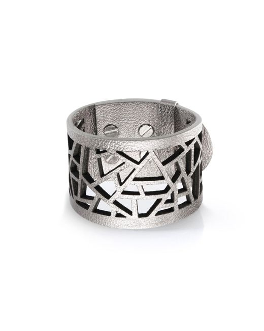 Ona Chan Jewelry | Metallic Leather Lattice Cuff Silver | Lyst
