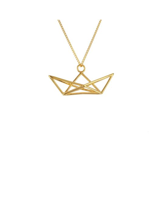 Origami Jewellery - Metallic Sterling Silver & Gold Frame Boat Origami Necklace - Lyst