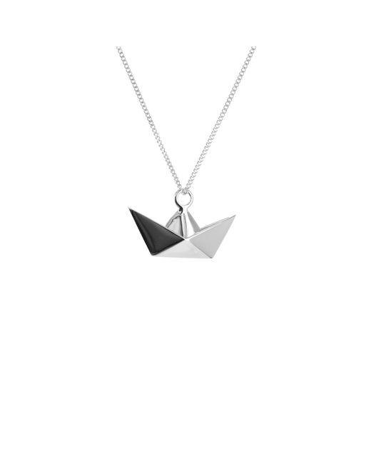 Origami Jewellery - Metallic Sterling Silver Mini Boat Origami Necklace - Lyst