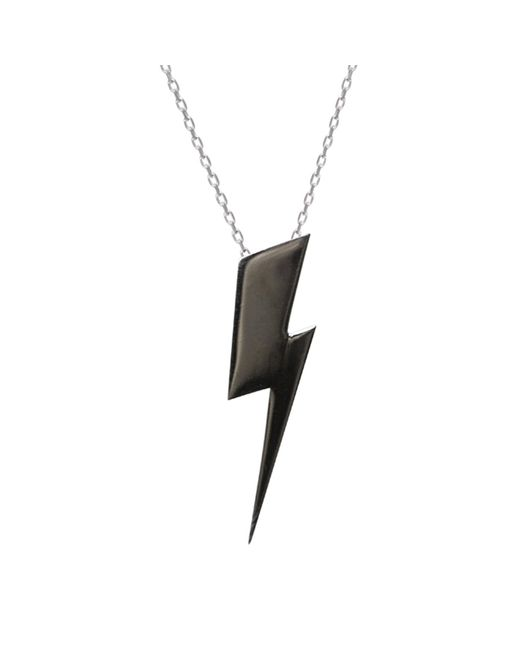 Edge Only - Flat Top Lightning Bolt Pendant Black - Lyst