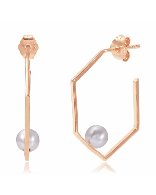 Neola | Metallic Minerva Rose Gold Earrings With Grey Pearl | Lyst