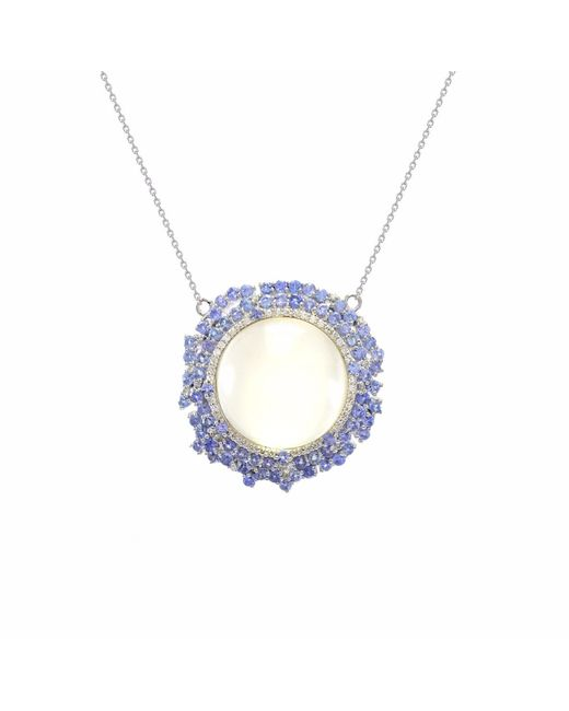 Ri Noor - Blue Pendant With Diamonds - Lyst