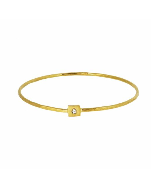 Yvonne Henderson Jewellery - Metallic Square Nugget Bangle With White Sapphire Gold - Lyst