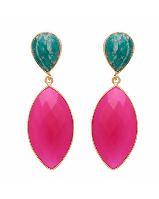 Carousel Jewels - Multicolor Amazonite & Fuchsia Chalcedony Double Drop Long Earrings - Lyst