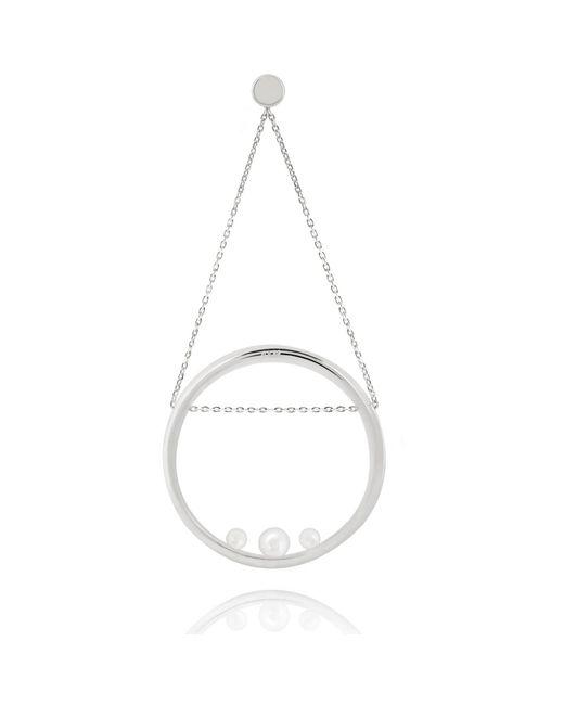 Astrid & Miyu - Pearl Spiral Swing Earring In White Gold - Lyst