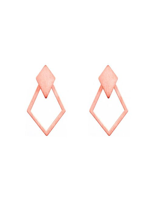 Dutch Basics - Multicolor Ruit Detachable Drop Earrings Rose Gold - Lyst