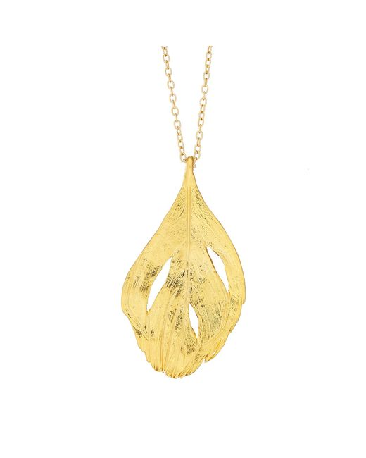 Chupi | Metallic Maxi Swan Feather Necklace Gold | Lyst
