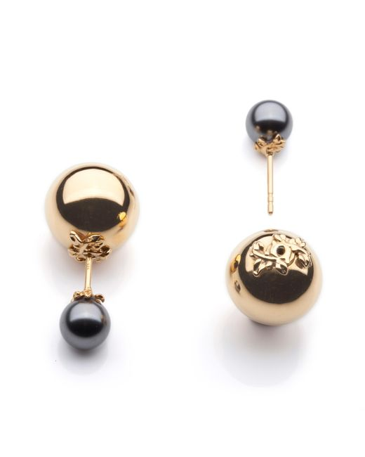 Kasun | Metallic Orb And Pearl Stud Earrings | Lyst