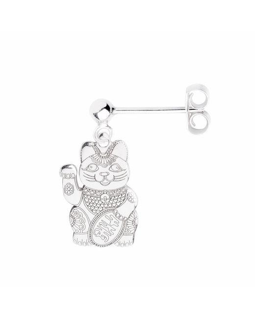 CarterGore - Metallic Silver Lucky Cat Single Short Drop Earring - Lyst