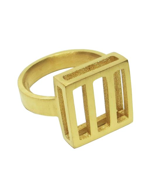 Stephanie Bates | Metallic Gold Panel Detail Ring | Lyst