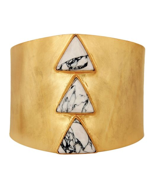 Carousel Jewels - Metallic Adjustable Gold Cuff With Howlite Triangles - Lyst