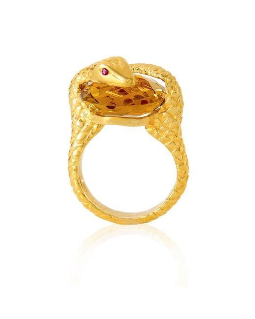 Alexandra Alberta - Metallic Gaia Quartz Ring - Lyst