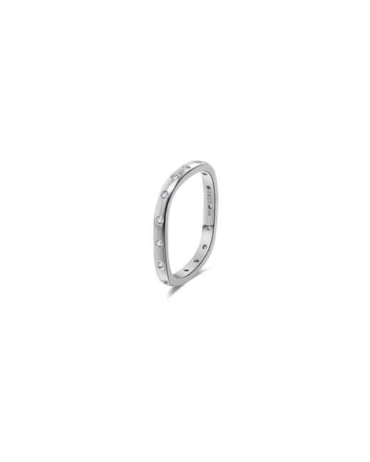 Opes Robur - Metallic Solid Silver Stacking Ring With Diamonds - Lyst