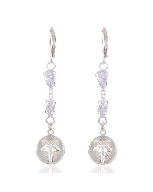 Alexa K | Metallic Silver Crystallised Wolf Earrings | Lyst