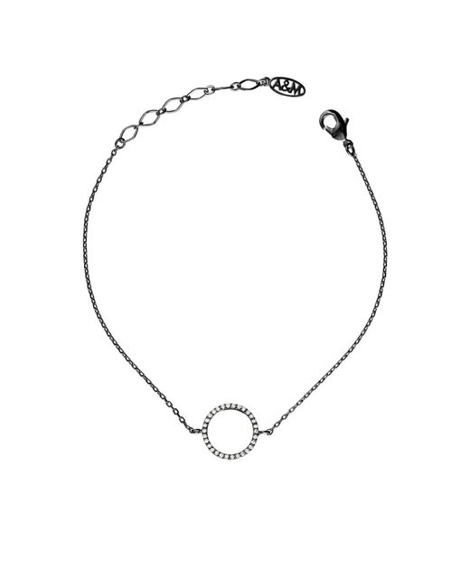 Astrid & Miyu | Metallic Tuxedo Circle Bracelet In Gunmetal | Lyst