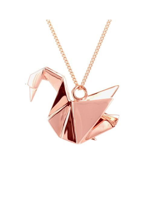 Origami Jewellery - Metallic Swan Necklace Sterling Silver Pink Gold Plated - Lyst