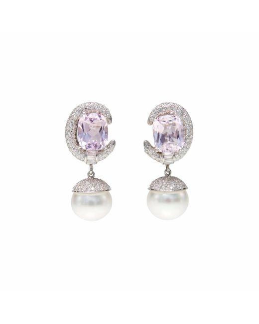 Ri Noor | Pink Kunzite Diamond & Pearl Earrings | Lyst
