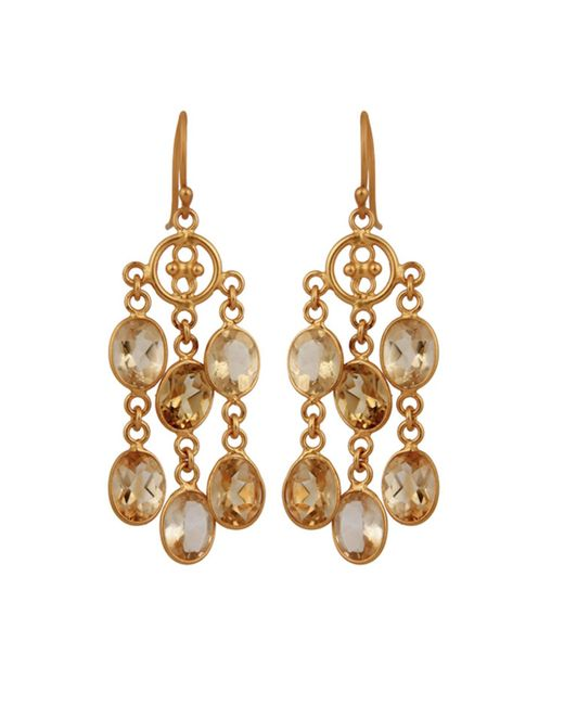 Carousel Jewels | Metallic Elegant Gold & Citrine Dangle Earrings | Lyst