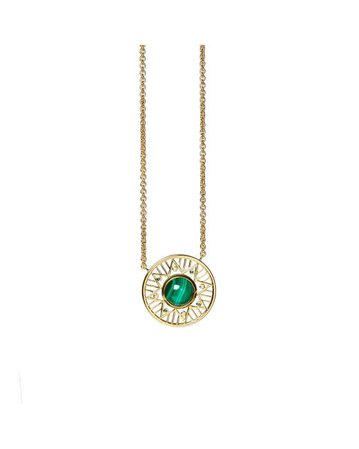 Alexandra Alberta - Metallic Yellow Gold Plated Chelsea Necklace With Malachite - Lyst